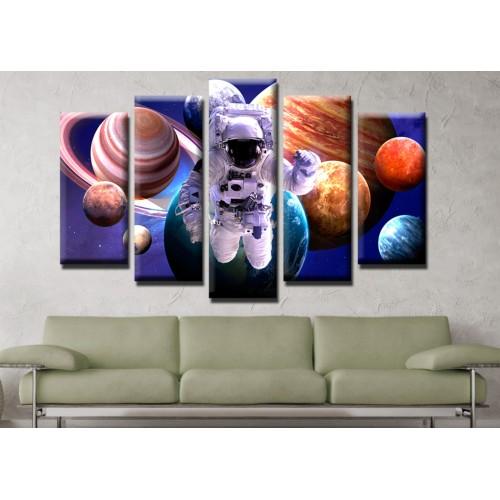 Декоративни панели и картини от канава Модел 13 527 космонавт планети космос пет части