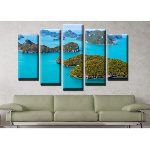 Декоративни панели и картини от канава Модел 13 528 острови  пет части