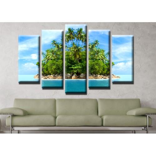 Декоративни панели и картини от канава Модел 13 529 острови палми пет части