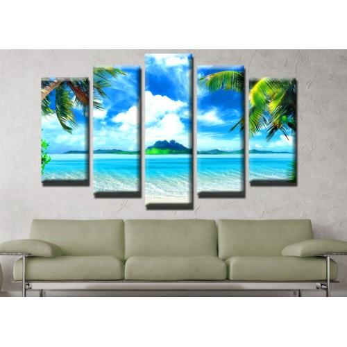 Декоративни панели и картини от канава Модел 13 530 острови палми пет части