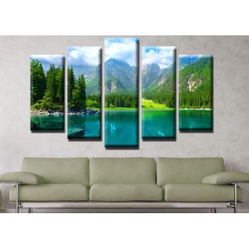 Декоративни панели и картини от канава Модел 13 533 планинско езеро пет части