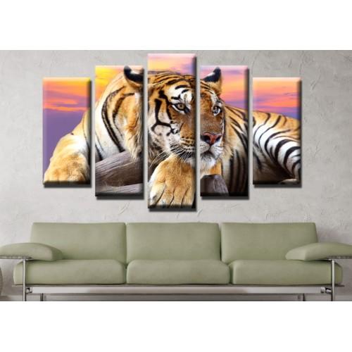 Декоративни панели и картини от канава Модел 13 533 тигър  пет части