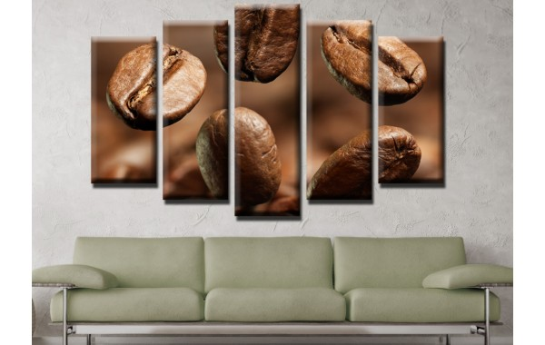 Декоративни панели и картини от канава Модел 13 534 кафе  пет части