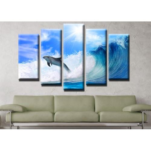 Декоративни панели и картини от канава Модел 13 536 делфин  пет части