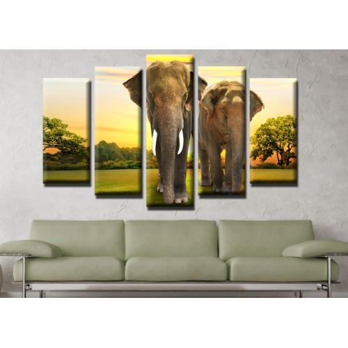 Декоративни панели и картини от канава Модел 13 538 слонове  пет части