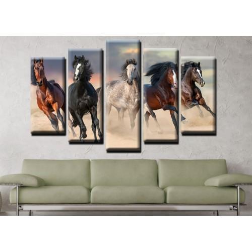 Декоративни панели и картини от канава Модел 13 539 коне  пет части