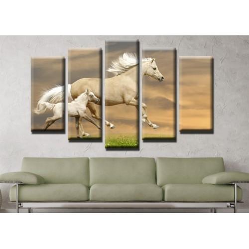 Декоративни панели и картини от канава Модел 13 540 коне  пет части