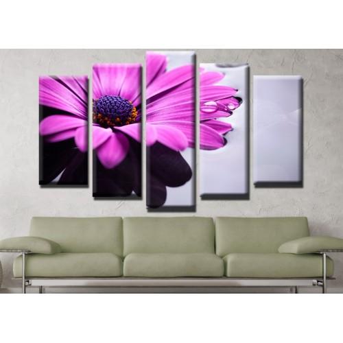 Декоративни панели и картини от канава Модел 13 555 цвете роса пет части