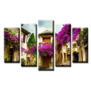 Декоративни панели и картини от канава Модел 13 559 стар Град пет части