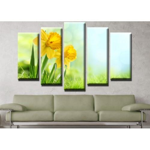 Декоративни панели и картини от канава Модел 13 562 цвете  пет части