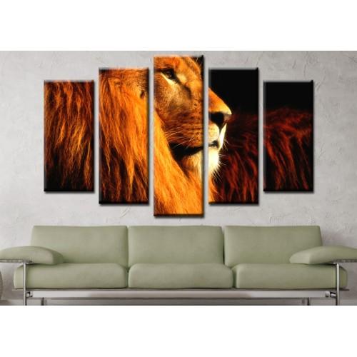 Декоративни панели и картини от канава Модел 13 572 лъв пет части