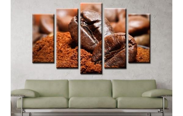 Декоративни панели и картини от канава Модел 13 576 зърна кафе пет части