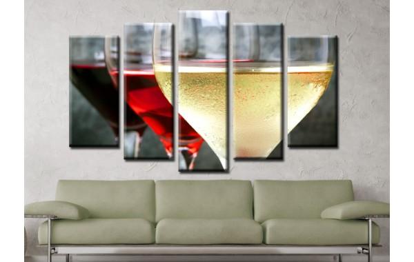 Декоративни панели и картини от канава Модел 13 580 чаша вино пет части