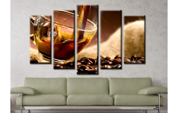 Декоративни панели и картини от канава Модел 13 581 кафе пет части