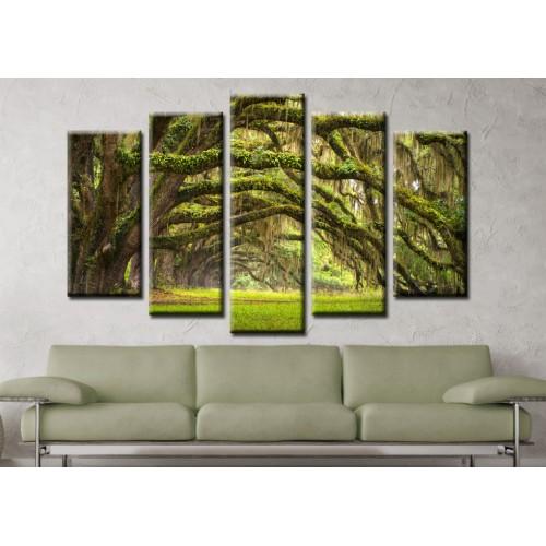 Декоративни панели и картини от канава Модел 13 582 гора пет части
