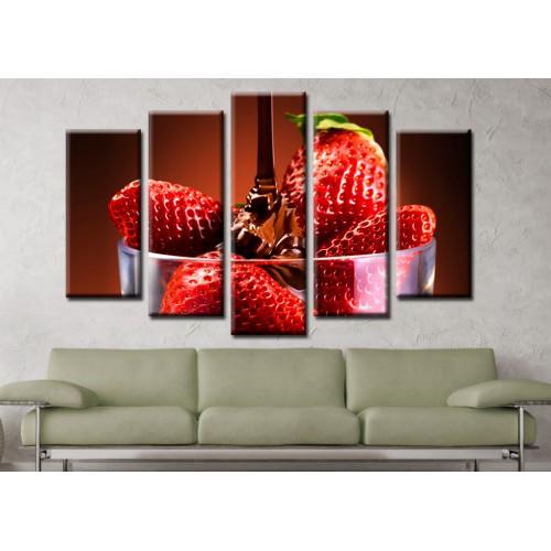 Декоративни панели и картини от канава Модел 13 587 ягоди с шоколад  пет части