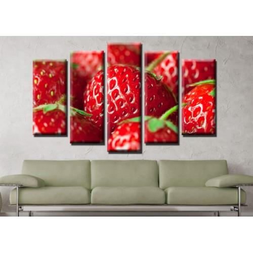 Декоративни панели и картини от канава Модел 13 594 ягоди  пет части