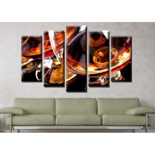 Декоративни панели и картини от канава Модел 13 597 коняк пет части