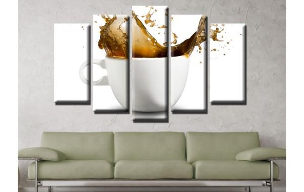 Декоративни панели и картини от канава Модел 13 598 чаша кафе пет части