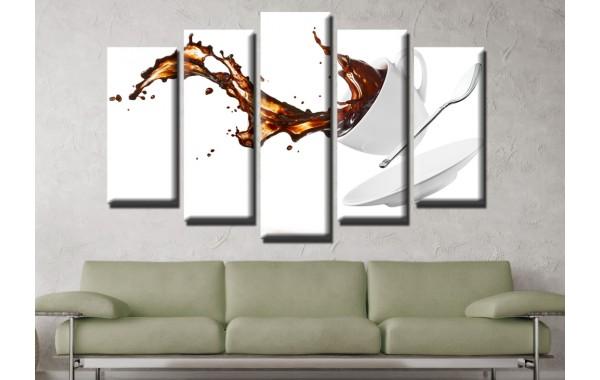 Декоративни панели и картини от канава Модел 13 599 чаша кафе пет части