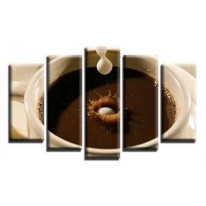 Декоративни панели и картини от канава Модел 13 600 чаша кафе пет части