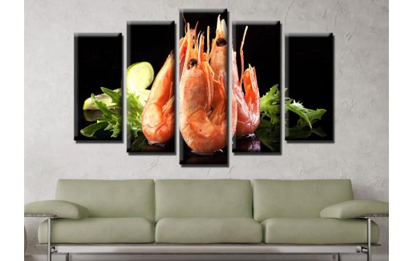 Декоративни панели и картини от канава Модел 13 604 скарида пет части