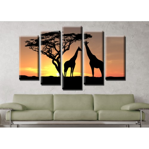 Декоративни панели и картини от канава Модел 13 607 жирафи пет части