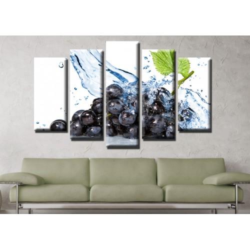 Декоративни панели и картини от канава Модел 13 611 вода грозде пет части