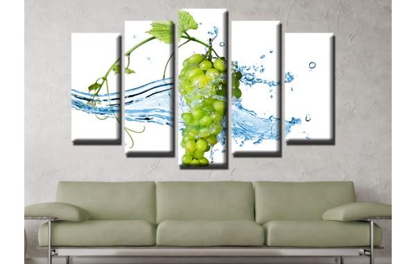 Декоративни панели и картини от канава Модел 13 612 вода грозде пет части