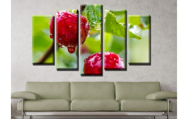 Декоративни панели и картини от канава Модел 13 616 череши пет части