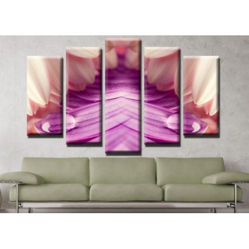 Декоративни панели и картини от канава Модел 13 618 цвят роса  пет части