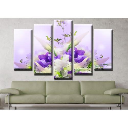 Декоративни панели и картини от канава Модел 13 619 цветя  пет части