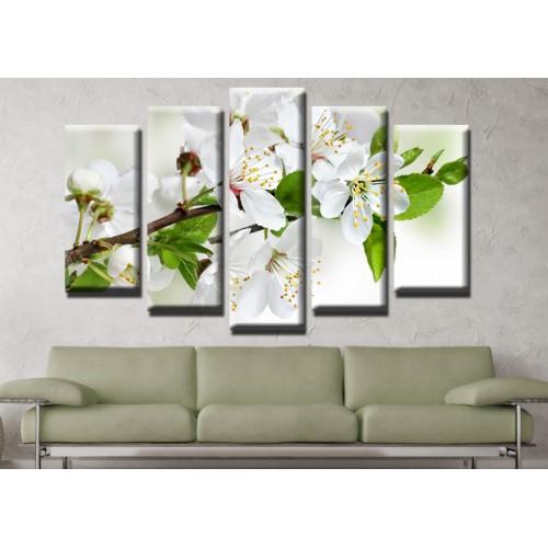 Декоративни панели и картини от канава Модел 13 625 клонче цвят пет части