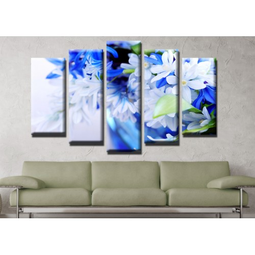 Декоративни панели и картини от канава Модел 13 628 цвете пет части