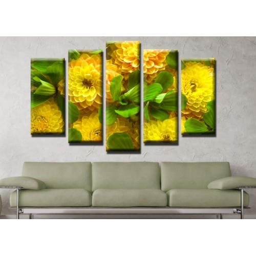 Декоративни панели и картини от канава Модел 13 629 цветя пет части