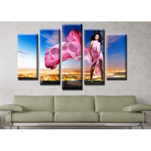 Декоративни панели и картини от канава Модел 13 632 момиче рокля пет части