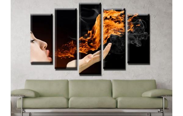 Декоративни панели и картини от канава Модел 13 633 огнен дъх пет части
