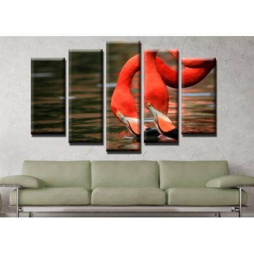 Декоративни панели и картини от канава Модел 13 634 фламинго пет части