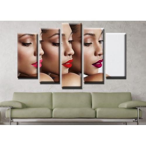 Декоративни панели и картини от канава Модел 13 637 черни момичета пет части