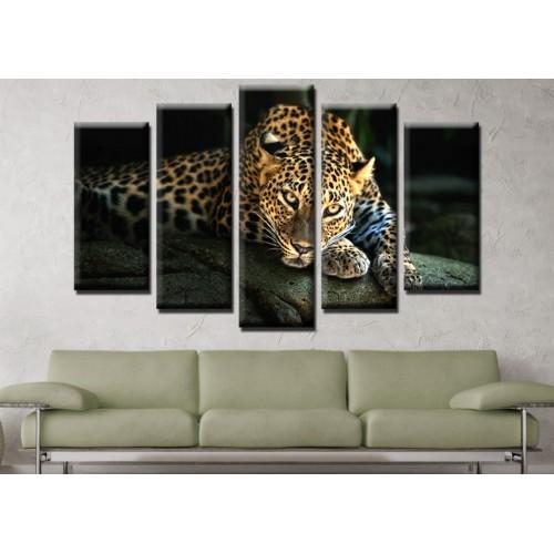 Декоративни панели и картини от канава Модел 13 641 леопард  пет части
