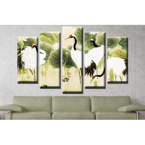 Декоративни панели и картини от канава Модел 13 644 птици пет части