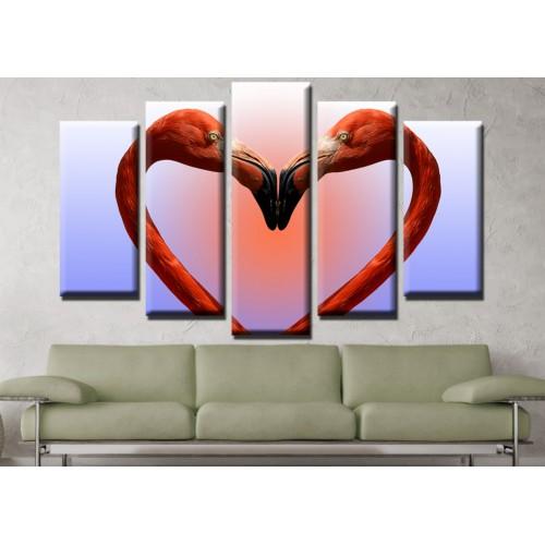 Декоративни панели и картини от канава Модел 13 654 фламинго любов сърце