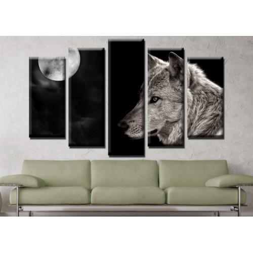 Декоративни панели и картини от канава Модел 13 664 вълк пет части