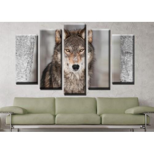 Декоративни панели и картини от канава Модел 13 665 вълк пет части