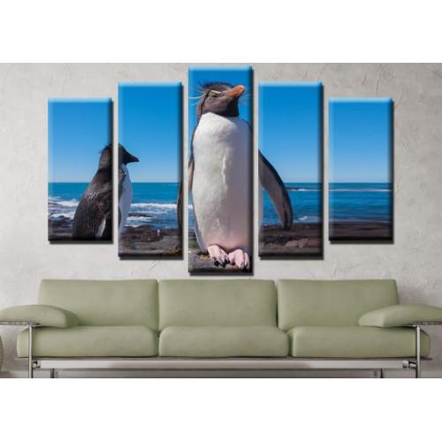 Декоративни панели и картини от канава Модел 13 667 пингвин пет части