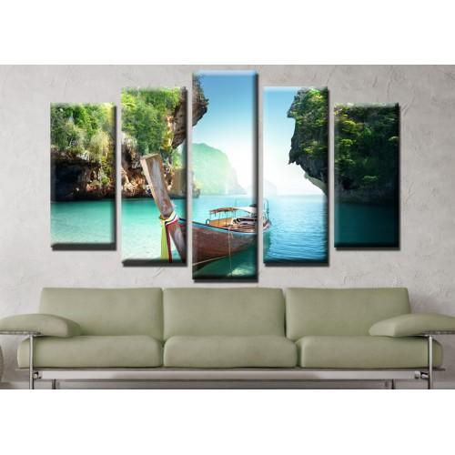 Декоративни панели и картини от канава Модел 13 677 море лодка тропик пет части