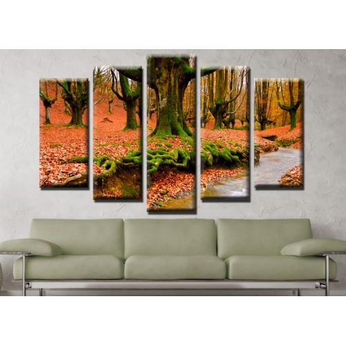 Декоративни панели и картини от канава Модел 13 681 гора река пет части