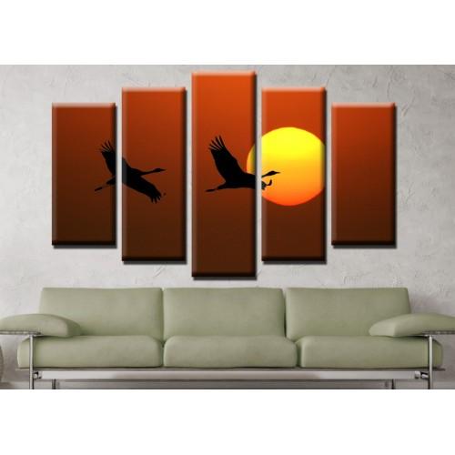 Декоративни панели и картини от канава Модел 13 682 полет залез пет части