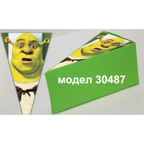 Парченце от Хартиена  торта  Модел 30487 не сглобена зелена кутийка с картинка шрек