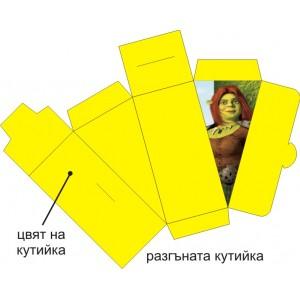 Парченце от Хартиена  торта  Модел 30488 не сглобена жълта кутийка с картинка шрек фиола